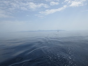 15 dunstig bei der Ueberfahrt von Schoinousa nach Seriphos