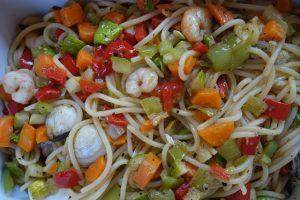 Gemüse- Meeresfrüchte Spagetti